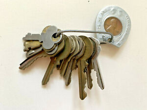 set of 15 vintage keys with Good Luck Penny keychain