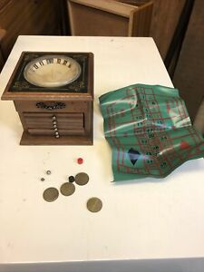 Retro Vintage Wooden Roulette Gaming Table Brass Coasters Table Top Miniature
