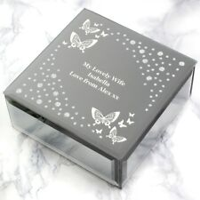 Personalised Engraved Luxury Mirrored Jewellery Trinket Box Christmas Gift