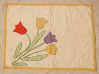 Small quilted wall hanging TULIPS hand appliqued