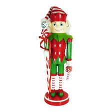 """TRIM A HOME CHRISTMAS 14"""" ELF WOODEN NUTCRACKER HOLDING A CANDYCANE STAFF"""