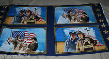 American Heroes FABRIC 100% COTTON FABRIC panel Firefighter Police Military