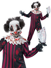 Boys Killer Clown Costume Scary Evil Halloween Fancy Dress Kids  Circus Outfit