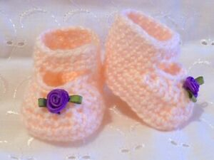 """DOLLS CLOTHES PEACH CROCHET KNITTED SHOES FIT BABY BORN ANNABELL REBORN 15-19"""""""