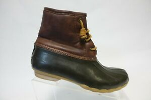 SPERRY TOP-SIDER Leather Brown Sz 6 Kids Duck Boots