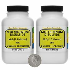 Molybdenum Disulfide [MoS2] 99% AR Grade Powder 12 Oz in Two Plastic Bottles USA