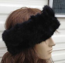 jet black real genuine rabbit fur pelt ear warmer headband unisex hat