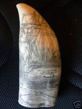 """CHARLES W. MORGAN"" fine details  historic Sperm whale tooth scrimshaw replica"