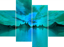 """20"""" High X 40""""+ Long Super Teal Water Canvas Pictures 4 Piece Multi Panel Sets"""