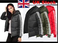 Womens Hoody Winter Coat Warm Jacket Down Padded Outwear Quilted Parka 3 Stripe