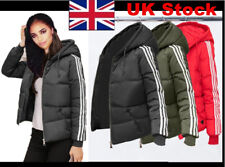 Womens Hoody Winter Coat Warm Jacket Down Padded Outwear Quilted Parka 3 Stripe
