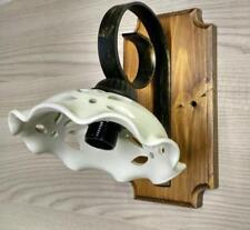 Applique rustico country in ferro battuto e legno 1 luce terracotta bianca E14