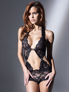 NEW LADIES ANN SUMMERS LIZZY BLACK OR RED LACY HALTERNECK BODY DRESS UP SEXY