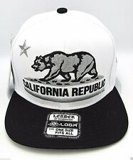 CALIFORNIA REPUBLIC Snapback Cap Hat CALI Bear Flag White Black Caps Hats NWT