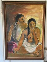 Vintage Original Oil Canvas Painting  -Nude Native American Women,  Alice Oliver