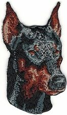 "1 1/2"" x 2 1/2"" Ears Up Doberman Dog Breed Portrait Embroidery Patch"
