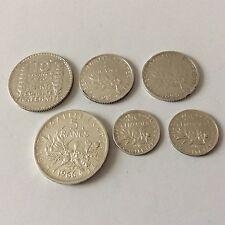 Joli lot de 6 pièces en francs en argent TB France