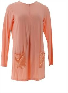 Joan Rivers Chic Jersey Knit Cardigan Sequin Pockets Solid Peach XS NEW A262520