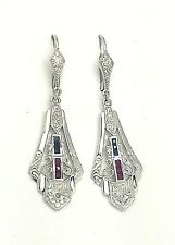 Earrings Sapphire, Ruby & Diamonds 925 Sterling Silver Art Deco