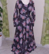 Abendkleid 70er Jahre orig. Kleid lang Maxikleid Chiffon Vintage Langarm G. 38