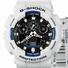 NEW CASIO G-SHOCK GA100B-7A WHITE WITH BLUE SPORT WATCH