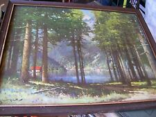ANTIQUE VINTAGE SIGNED ROBERT WOOD PRINT TREES CABIN OUTDOOR PICTURE FRAMED