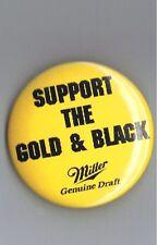 "Old Miller Genuine Draft MGD Beer Advertising 1.75"" Pinback Button Gold & Black"