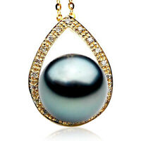 Pacific Pearls® 13mm Genuine Tahitian Black Pearl Diamond Pendant Gifts For Wife