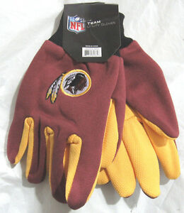 NFL Washington Redskins Colored Palm Utility Gloves Maroon w/Yellow Palm by FOCO