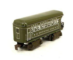 MX Vintage Marx Prewar 8 WHEEL U.S. Army Supply Train Official Observation Car