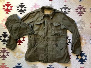 Vintage WWII WW2 U.S. Army M-1943 Field Jacket M43 W/ Hood 44-46 Chest Large