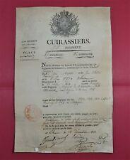 Certificat Campagnes Maréchal des Logis CUIRASSIER 7ème Régiment CHINON 1815