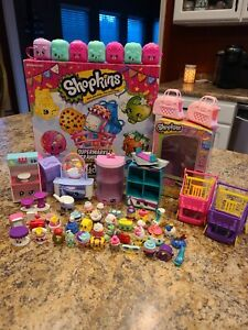 Shopkins Lot Of 37 Shopkins With Accessories Game and Tin