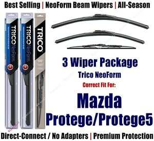 3pk Wipers Front & Rear NeoForm 2002-2003 Mazda Protege/Protege5 16210/190/30130