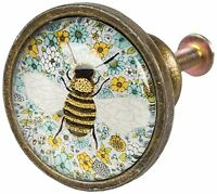 Sass & Belle Glass and Metal Summer Floral Bee Drawer Knob, Multi-Colour