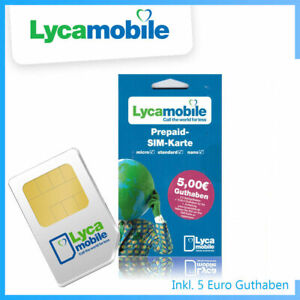 LYCAMOBILE PREPAID SIM Karte AKTIV mit 5€ Startguthaben