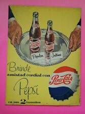 Original Vintage Mexican PEPSI COLA Cardboard sign w/ bottles 1956