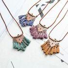 Women Leather Chain Fringe Tassel Bohemian Necklace Metal Triangle Pendant