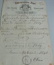 Geburtsbrief BREMEN 1848 Christian F. REIMANN (*1819), Signatur Gerhard CAESAR