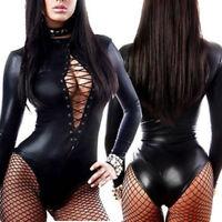 Sexy Women's PU Leather PVC Wet Look Bodysuit Catsuit Long Sleeve Leotard Tops