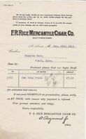 U.S. F. R. Rice Mercantile Cigar Co. St Louis 1913 Drug Store Invoice Ref 42352