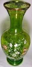 Gorgeous Vintage Norleans Made in Italy Vase 22K Gold/Green Flowers Butterflies