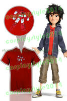 Big Hero 6 Mascot Baymax Logo Hiro Hamada Cosplay Costume Outfit Red T-Shirt TEE