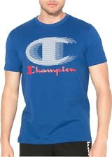 Champion Logo Print Mens Short Sleeve T-Shirt Crew Neck Top Blue Fashion