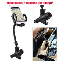 Dual 2 USB Car Cigarette Lighter Mount Holder Stand Charger for Mobile Phone GPS