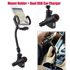 Dual USB Port Cigarette Lighter Socket Car Charger & Mount Holder for Cell Phone