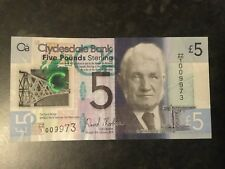 Clydesdale £5 polymer note, ZZ prefix, circulated and with some creases