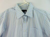 Robert Talbott Mens Size Large 16 Dress Shirt Baby Blue Gold Striped Long Sleeve