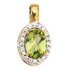 Anhänger oval 585 Gold Gelbgold bicolor 1 Peridot grün 20 Diamanten