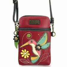Chala - Hummingbird on Burgundy - Cellphone Crossbody Handbag